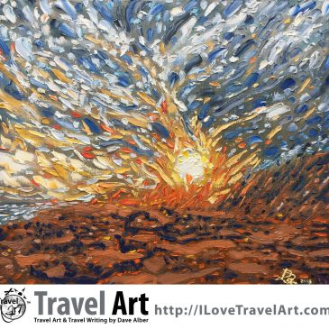 Travel Art: Black Sand Sunset: Balian Beach, Bali