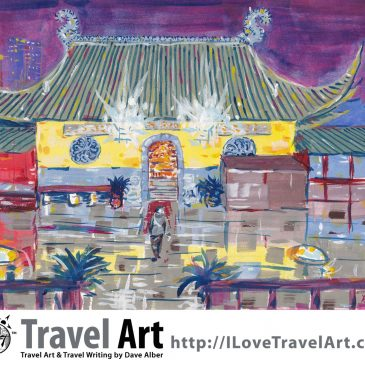 Travel Art: Approaching Dongwu Temple on Chinese New Years Eve (Suzhou, China)