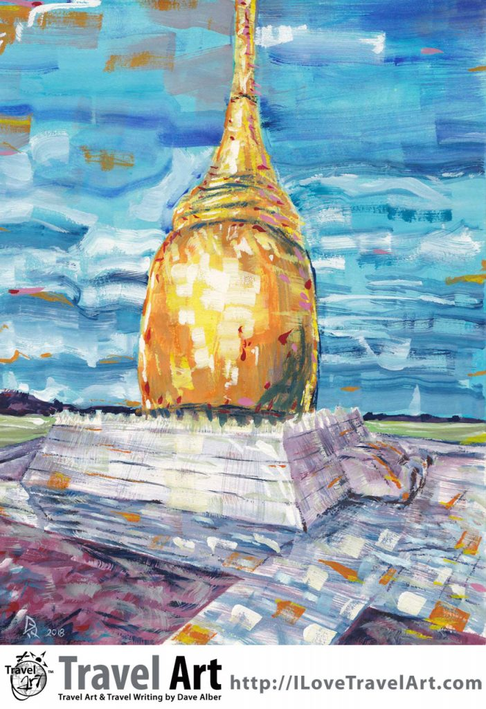 Travel Art, Dave Alber, travel, art, fine art, illustrations, illustrator, travel writer, traveler, tourism art, tourist art, travel painting, portrait painters, portrait painting, travel portrait, art resale, flip, representational, traditional, abstract art, wall art, flower painters, pet painters, buphaya paya, bagan, myanmar, burma, bupaya, burmese art, burmese painting, buddhist temple, buddhist pagoda, buddhist stupa, myanmar stupa, burmese stupa, burmese pagoda, bagan pagoda, bagan stupa,gouache, burmese architecture, burma travel, burma tourism, myanmar travel, myanmar tourism, bagan travel, bagan tourism
