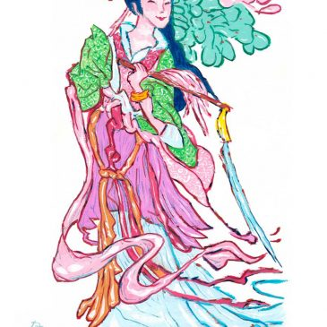 Travel Art: Lady He (He Xiangu) of the Eight Immortals