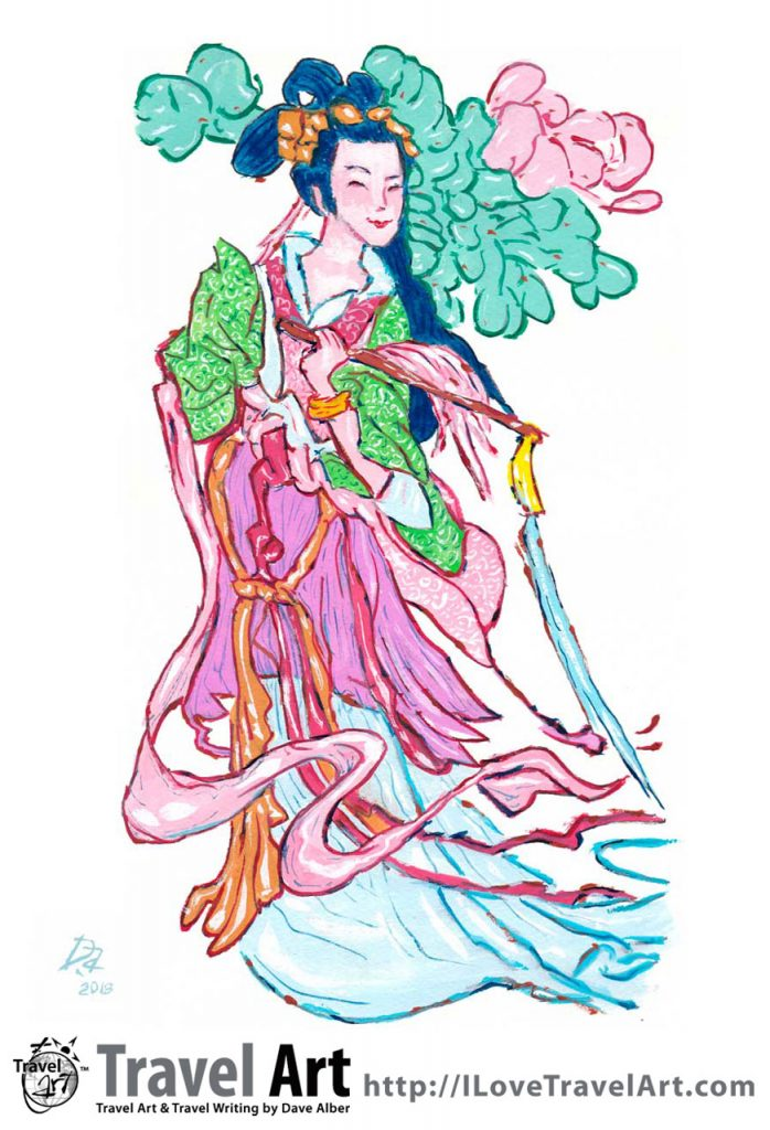 Travel Art, Dave Alber, travel, art, fine art, illustrations, illustrator, travel writer, traveler, tourism art, tourist art, travel painting, portrait painters, portrait painting, travel portrait, art resale, flip, representational, traditional, abstract art, wall art, flower painters, pet painters, aldy he, he xiangu, eight immortals, taoist immortals, chingming, ching ming festival, chinese religious art, taoist art, chinese spirituality, taoism, chinese saint, chinese medicine, chinese painting, gouache, china travel, china tourism, henan travel, henan tourism, religious travel, religious tourism, spiritual travel, spiritual tourism