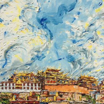 Travel Art: Falling into the Sky: Ganden Sumtsenling Monastery, Shangri-la, Yunan, China
