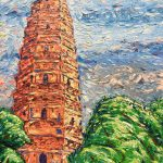 Travel Art, Dave Alber, travel, art, fine art, illustrations, illustrator, travel writer, traveler, tourism art, tourist art, travel painting, portrait painters, portrait painting, travel portrait, art resale, flip, representational, traditional, abstract art, wall art, flower painters, pet painters, impasto painting, oil painting, buddhist pagoda, buddist stupa, buddist art, buddhist painting, china travel, china tourism, suzhou travel, suzhou tourism, leaning tower, suzhou tower, suzhou stupa, suzhou pagoda, leaning pagoda, leaning stupa, monks, monks laughing, chinese art, chinese buddhism, chinese architecture, buddhist architecture, architectural painting, chinese landscape painting, modern chinese art, contemporary painting