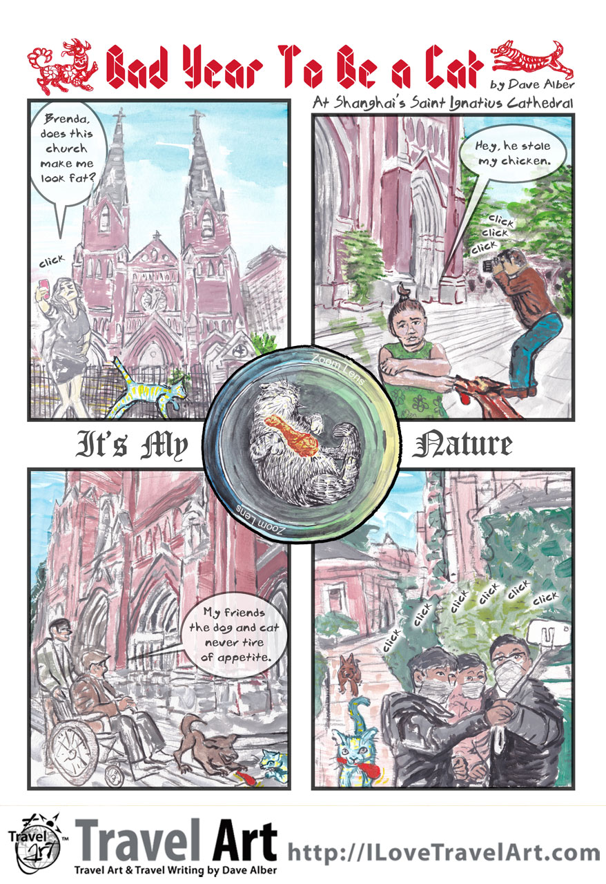Comic Art: Bad Year to Be a Cat, comic #4, At Shanghai's St. Ignatius Cathedral
